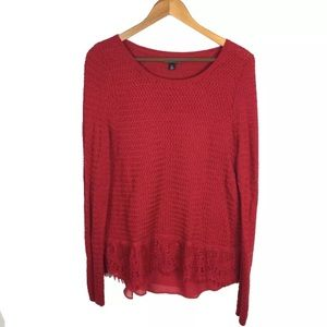 Lucky Brand XL Red Sweater Basketweave & Lace
